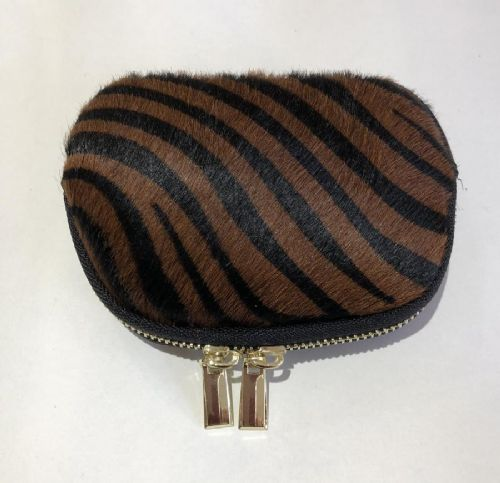 Leather Animal Print Purse/Make Up Bag - Tiger